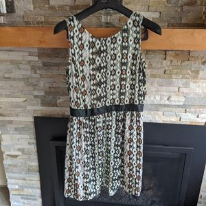 Patterned Dress with faux leather waistband